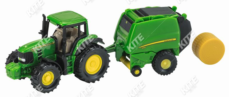 John Deere traktor körbálázóval-makett