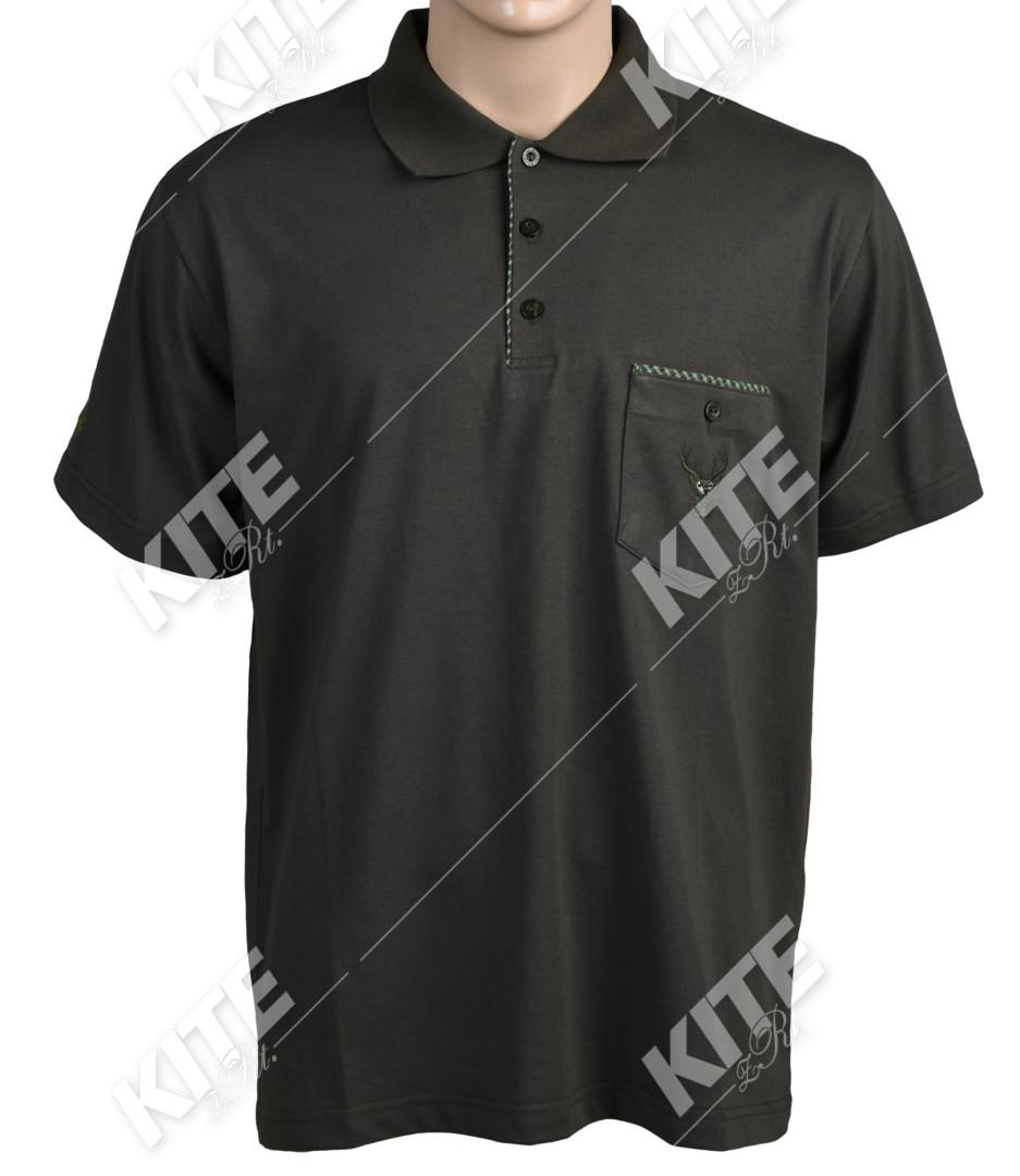 Vadász póló hímzett szarvas motívummal